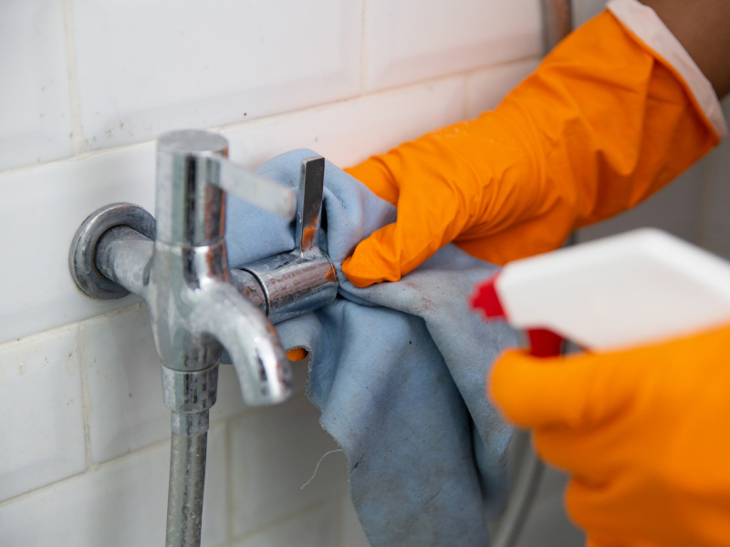Bathroom tap cleaning
